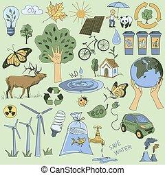 エコロジー, 有色人種, アイコン, いたずら書き, セット, リサイクルしなさい
