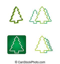 エコロジー, -, 木, 松, 概念, アイコン