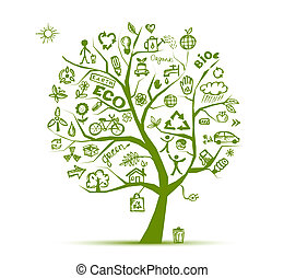 エコロジー, 木, 概念, 緑, デザイン, あなたの