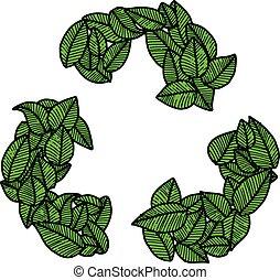 エコロジー, 概念, いたずら書き, 葉, イラスト, 手, ベクトル, 緑, リサイクルしなさい, 引かれる, 創造的, ロゴ, design.