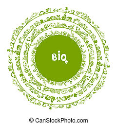エコロジー, 概念, フレーム, デザイン, 緑, 円, あなたの