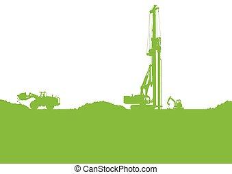 エコロジー, 産業, 建築現場, ベクトル, 背景, illustrat