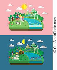 エコロジー, 緑, デザイン, 平ら, エネルギー