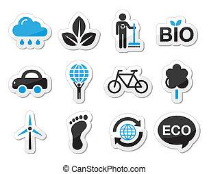 エコロジー, 緑, ic, リサイクル, ベクトル