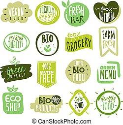エコロジー, 自然, プロダクト, 農場, 食物, vegan, 食品。, eco, ベクトル, 緑, labels., ロゴ, 新たに, 優れた, 食事, 有機体である, stickers., 健康, バッジ, 食事