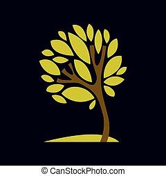 エコロジー, 自然, ベクトル, 芸術的, 考え, イメージ, theme., 季節, 定型, シンボル。, 木, デザイン, イラスト, グラフィック, ファンタジー