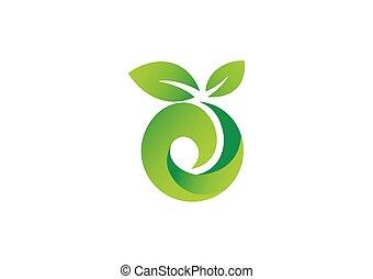 エコロジー, 葉, 抽象的, ベクトル, 緑, ロゴ