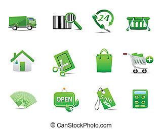 エコロジー, 買い物, セット, 緑, アイコン