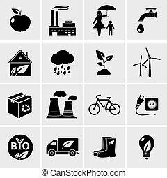 エコロジー, 黒, アイコン