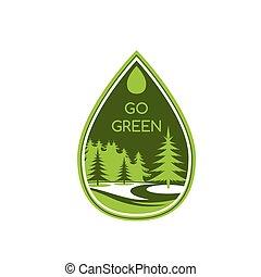 エコロジー, eco, 木, 環境, ベクトル, 緑, アイコン
