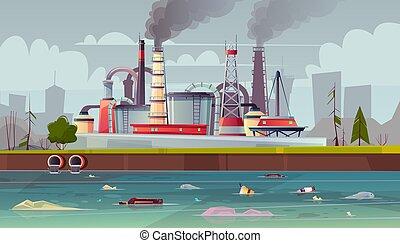 エコロジー, pollution., concept., 工場, 水, ベクトル, plant.