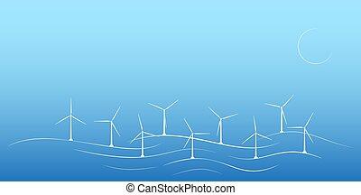 エコロジー, sources., generator., エネルギー, modernity., フィールド, 風, 多数, 回復可能