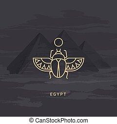エジプトの神, khepri., 図画, オオタマオシコガネ, ベクトル, かぶと虫, personifying, アイコン