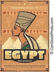 エジプト人, エジプト, ポスター, 博物館, 女王, nefertiti