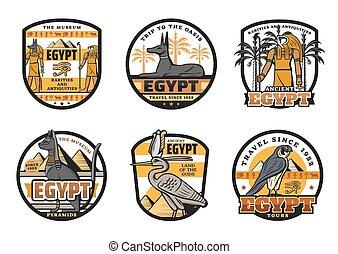 エジプト人, エジプト, 神, 旅行ディスティネーション, アイコン