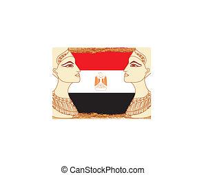 エジプト人, エジプト, cleopatra, 女王, 旗, 背景