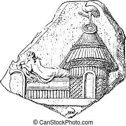 エジプト人, キオスク, ローマ人, terracotta, engraving., イミテーション, 型