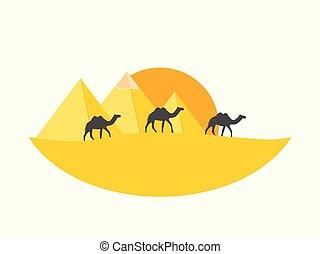 エジプト人, キャラバン, 上に, ピラミッド, に対して, ベクトル, イラスト, ラクダ, desert., pyramids.