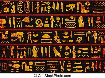 エジプト人, グランジ, 背景, 象形文字, 古代