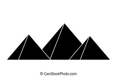 エジプト人, シンボル, ベクトル, デザイン, ピラミッド, アイコン