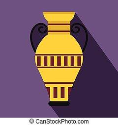 エジプト人, スタイル, つぼ, 平ら, アイコン