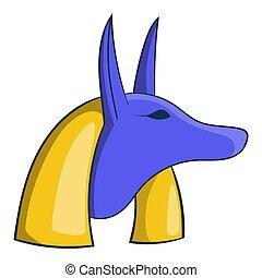 エジプト人, スタイル, 古代, 漫画, アイコン, anubis, 神