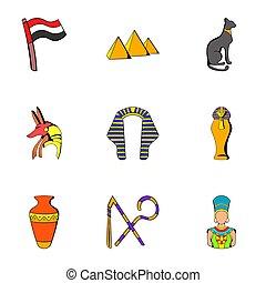 エジプト人, スタイル, 漫画, 文化, セット, アイコン