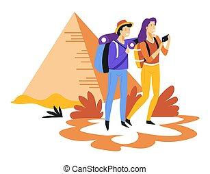 エジプト人, バックパック, 恋人, 旅行, ピラミッド, 観光事業, 観光