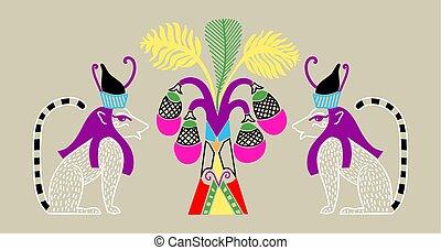 エジプト人, パターン, 木, 2, ねこ, やし, 神, ココナッツ