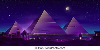エジプト人, ピラミッド, ベクトル, 夜, 漫画, 風景