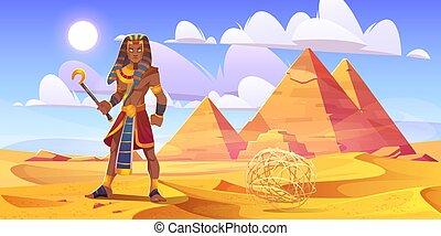 エジプト人, ピラミッド, 砂漠, ファラオ, 古代