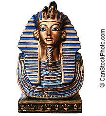 エジプト人, ファラオ, マスク, エジプト, 旅行, 隔離された, -, 金, 概念, 白