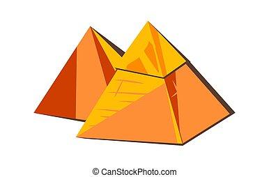エジプト人, ブロック, ピラミッド, 砂, 墓, 金