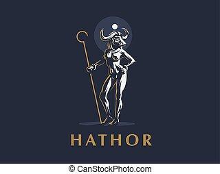 エジプト人, ベクトル, 女神, hathor., illustration.