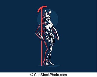 エジプト人, ベクトル, emblem., seth., 神