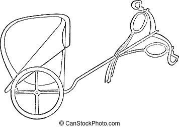 エジプト人, 二輪戦車, engraving., 型