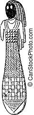 エジプト人, 人形, 型, engraving.