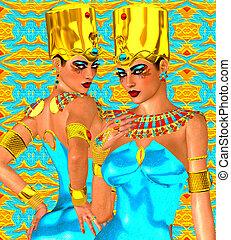 エジプト人, 女性, 双子