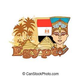 エジプト人, 女王, エジプト, 背景, 旗, cleopatra