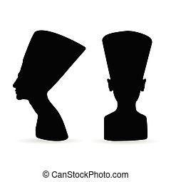 エジプト人, 女王, シルエット, nefertiti
