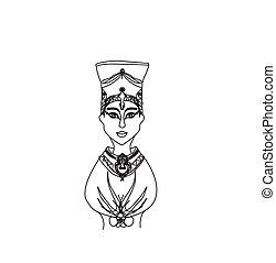 エジプト人, 女王, 頭, ベクトル, cleopatra
