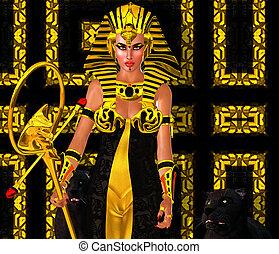 エジプト人, 女, ファラオ, ヒョウ