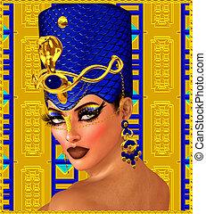 エジプト人, 女, ファラオ, ファンタジー, art.