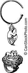 エジプト人, 女, 彫版, 骨董品, 描写, 馬, それ, イヤリング, 宝石類, 心, 型, リング