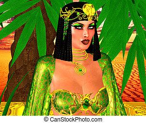 エジプト人, 女, 緑, エメラルド