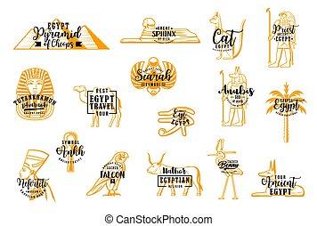 エジプト人, 宗教, 動物, 神, アイコン