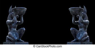 エジプト人, 小立像, 芸術, 古代彫刻, 像, anubis