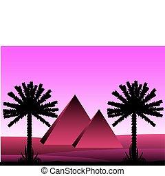 エジプト人, 後で, 日没, ピラミッド, サハラ砂漠