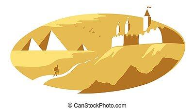 エジプト人, 概念, 要塞, スタイル, ベクトル, 示されている, illustration., 旅行, ヨーロッパ, ピラミッド, 歴史