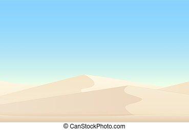 エジプト人, 砂丘, バックグラウンド。, 砂, ベクトル, 白, 砂漠の 景色